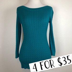 Tommy Hilfiger teal boat neck sweater medium